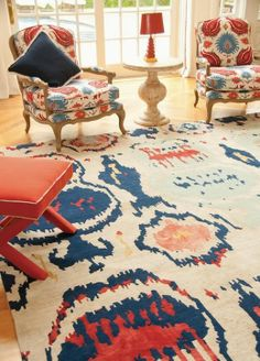 A bold ikat pattern that brings color and excitement to any room! Carpet Sale, Rugs On Carpet, Carpets, Living Room Inspiration, Color Inspiration, World Decor, Tribal Decor, Fabric Rug, Ikat Pattern
