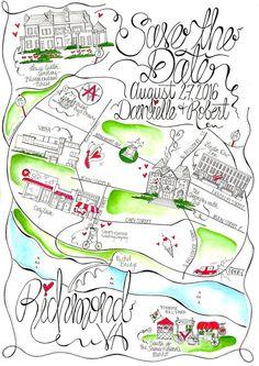 Virginia Watercolor Wedding Map By Designermapsbyzoe Custom Invitations