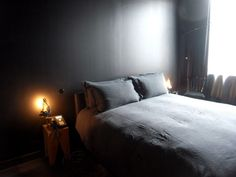 hmmm charcoal gray bedroom. nice backdrop for pretty jammies.