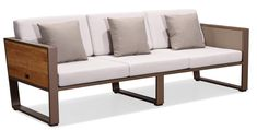 York outdoor sofa by Hygold features built in wood side tables that flip up when you need them. Outdoor Sofa, Outdoor Living, Outdoor Furniture, Outdoor Decor, Sofas, Lounge, Patio, Couch, Side Tables