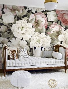 Watercolor Peonies peel and stick wallpaper mural (Sold as per sheet, full set must be purchased 5 sheets) Painting Wallpaper, Fabric Wallpaper, Wall Wallpaper, Peel And Stick Wallpaper, Bedroom Wallpaper, Sunflower Room, Flower Mural, Thing 1, Paintings