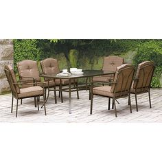 Mainstays Brookwood Landing 7-Piece Patio Dining Set, Brown, Seats 6: Patio Furniture : Walmart.com $398