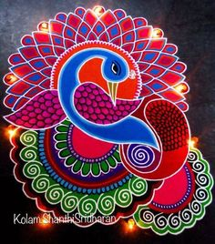 Best Rangoli Designs for Diwali. Get the latest and beautiful images and designs here on happy Shappy Rangoli Designs Peacock, Best Rangoli Design, Easy Rangoli Designs Diwali, Rangoli Designs Latest, Simple Rangoli Designs Images, Free Hand Rangoli Design, Rangoli Ideas, Colorful Rangoli Designs, Diwali Rangoli