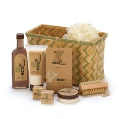 Eco-inspired spa delights are an indulgent treat for someone special, or just to spoil yourself! Woven bamboo basket is generously packed with body lotion, bath fizzers, body cream, bath crystals and exfoliating brush and scrubber. Bath Gift Basket, Spa Basket, Bamboo Basket, Basket Ideas, Gift Baskets For Women, Spa Gifts, Shower Gel, Body Lotion, The Ordinary