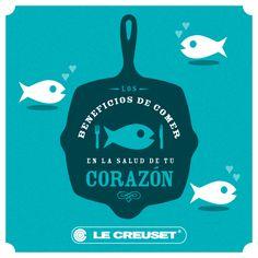 ❤ Los ácidos grasos omega-3 contenidos en el pescado ayudan a controlar la presión arterial.  ❤ Disminuye el riesgo de arritmias cardiacas.  ❤ Disminuye la formación de coágulos en la sangre.  ❤ Mejora la salud arterial.  ❤ Disminuye la posibilidad de muerte repentina por deficiencias cardiacas.  ❤ Disminuye los niveles de triglicéridos.    Te recomendamos utilizar algunas de nuestras parrillas o skillets de hierro colado de Le Creuset para darles ese toque especial a tus cortes y pescados.