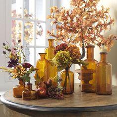 Flowers diy vase glass bottles 15 ideas for 2019 Fall Home Decor, Autumn Home, Amber Glass Bottles, Deco Boheme, Autumn Decorating, Fall Table, Fall Diy, Autumn Inspiration, Seasonal Decor