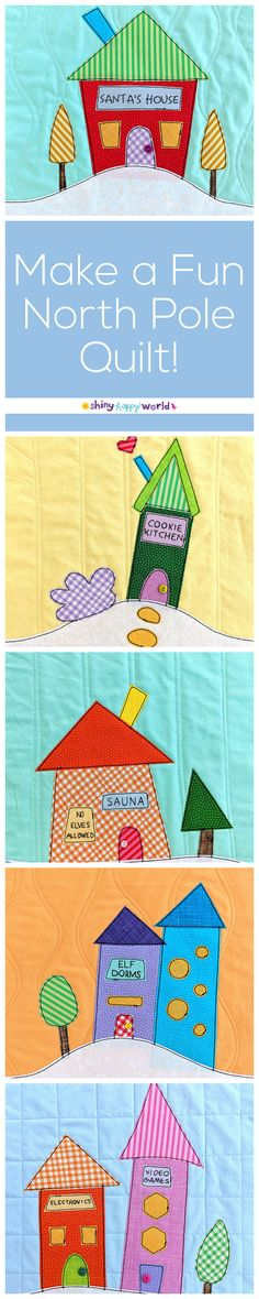 dd9b33984311f Free Santa s Village Signs to Make a North Pole Quilt