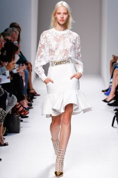 White : quilted skirt, chain belt, and lace blouse