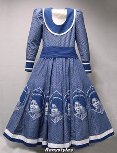Da Gama Traditional Dresses, A tailored woman's dress with open neck, long sleeves, sash/belt and flared skirt made out of indigo dyed Xhosa Attire, African Attire, African Wear, African Women, African Beauty, African Fashion Designers, African Print Fashion, Africa Fashion, African Print Dresses