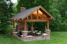 32 Ideas covered patio fireplace pavilion for 2019 Patio Diy, Backyard Hammock, Patio Seating, Backyard Pergola, Fire Pit Backyard, Patio Ideas, Seating Areas, Patio Roof, Pergola Kits