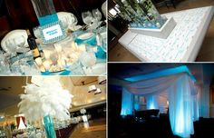Lounge furniture and feather decor at Westmount Country Club, South Beach Miami Wedding Theme
