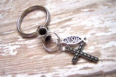 Key chain key ring Cross key ring Cross and by HeavenlyTreasuresLG