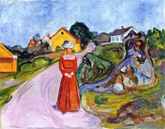 Edvard Munch - Street in Åsgårdstrand and a Woman in Red Dress 1901-03