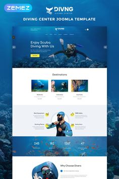 Divers - Swimming Multipage Classic HTML Website template Website Design Inspiration, Best Website Design, Website Design Layout, Web Layout, Website Designs, Website Ideas, Html Website Templates, Joomla Templates, Design Templates