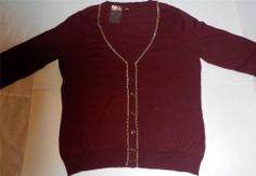 Merona Womens Sz L Sweater Button Down Wine Gold Chain All Season Target NEW #Merona