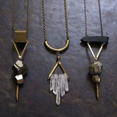 Pyrite, brass, quartz necklaces : $35 - While Odin Sleeps   STORE