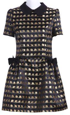 Black Elephant Print Short Sleeve Peter Pan Collar Dress - Sheinside.com