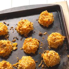Buffalo Macaroni and Cheese Bites Recipe -I make a great vegetarian buffalo-style appetizer. Macaroni and cheese get heated up with Louisiana-style hot sauce, breaded and baked. These tasty nibbles are served with blue cheese dressing.—Ann Donnay, Milton, Massachusetts