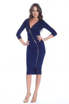 FashionUP! - Rochie bleumarin Roserry cu fermoar - FEMEI, Rochii, Rochii de zi Fashion Days, Dresses For Work, Spandex, Casual, Blue, Products, Gadget