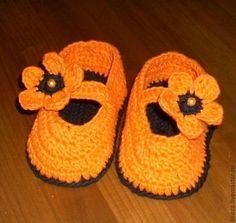 Для новорожденных, ручной работы. Ярмарка Мастеров - ручная работа. Купить Апельсиновые туфельки. Handmade. Пинетки, оранжевый