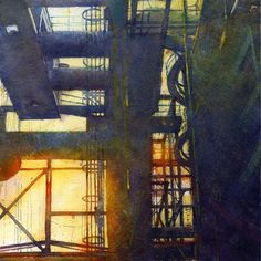 """Richard Sneary on Instagram: """"Carrie Furnace #4. 153rd Annual International Exhibition & Annual Travel Show of the American Watercolor Society...SOLD! Carrie Furnace #5…"""" Carrie, Carry On, Industrial, Watercolor, American, Painting, Travel, Instagram, Art"""