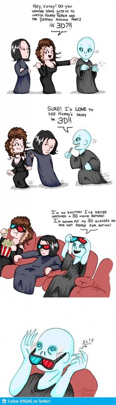 Lol Voldemort can't wear glasses!