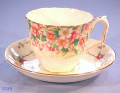 Very pretty bone china Tea Cup made by Crown Staffordshire in their Maytime pattern in the 1930s, teamed with a coordinating Old Royal Saucer. Description from collectable-china.co.uk. I searched for this on bing.com/images