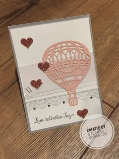 Karte zur Hochzeit oder einfach zum schönsten Tag mit dem Produktpaket abgehoben (Lift me up) von Stampin' Up! Birthday Thank You Cards, Valentine Day Cards, Ballon Party, Up Balloons, Air Balloon, Karten Diy, Hand Stamped Cards, Love Cards, Creative Cards