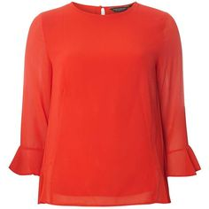 Dorothy Perkins Red Flute Sleeve Ruffle Top (€33) ❤ liked on Polyvore featuring tops, coral, red 3 4 sleeve top, red top, 3/4 length sleeve tops, dorothy perkins and three quarter sleeve tops