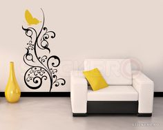 Sticker decorativ Floare pentru Fluture