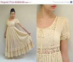 sale  Bohemian Wedding Dress  //  70s by VintageUrbanRenewal, $135.20