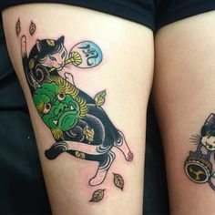 Asian style colored thigh tattoo of Manmon cat painted by horitomo Full Body Tattoo, Body Tattoos, All Tattoos, Tattoos For Guys, Piercing Tattoo, Piercings, Asian Tattoos, Japanese Tattoo Designs, Japan Tattoo