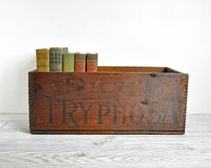Antique Wooden Box / Rustic Wood Crate / Industrial Decor via Etsy.