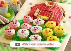Barn Cake w/ Farm Animal Cupcakes