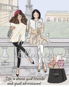 Best Friends - Good Friends and Great Adventures - Paris Art - travel Art - Quotes for Women - Art for Women - Inspirational Art