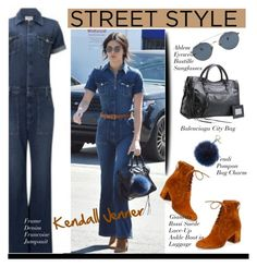 """STREET STYLE: Kendall Jenner"" by hamaly ❤ liked on Polyvore featuring Frame Denim, Gianvito Rossi, Balenciaga, Ahlem, Fendi, GetTheLook, StreetStyle, jumpsuits, kendalljenner and StyleDiary"
