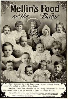 14 Happy babies faces in 1907 advertisement for Mellin's Baby Food