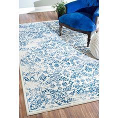 nuLOOM Modern Vintage Abstract Blue Rug (5'3 x 8') | Overstock.com Shopping - The Best Deals on 5x8 - 6x9 Rugs