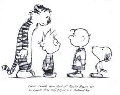 Calvin and Hobbes meet Charlie Brown and Snoopy Calvin Und Hobbes, Calvin And Hobbes Comics, Calvin And Hobbes Tattoo, Comics Illustration, Illustrations, Charlie Brown Snoopy, Comic Art, Comic Books, Nerd