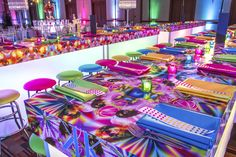 Creative tables and decor for this colorful Bat Mitzvah.