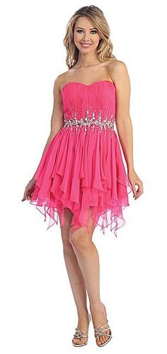 Beautiful short dress. Perfect for prom, graduation, homecoming or any special event. Gathered sweetheart bodice and handkerchief skirt with jeweled waistband. View Size Chart
