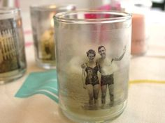 DIY photo Memory Votives. Great idea for an anniversary party or a birthday party.