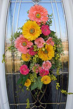 Spring Easter Teardrop Door Swag Vertical by AnExtraordinaryGift Front Door Decor, Wreaths For Front Door, Door Wreaths, Door Swag, Spring Door, Seasonal Decor, Holiday Decor, Summer Wreath, Diy Wreath