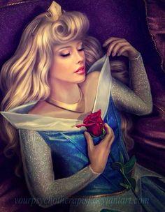 Sleeping Beauty's Princess Aurora cartoon illustration via www.Facebook.com/DisneylandForMisfits