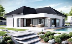 Find home projects from professionals for ideas & inspiration. Projekt domu HomeKONCEPT 32 by HomeKONCEPT Modern Family House, Modern House Plans, Small House Plans, Bungalow House Design, Small House Design, Modern House Design, Bungalow Exterior, Morden House, Circle House