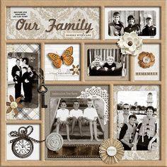 Ideas Family Tree Scrapbook Layout Vintage Photos For 2019 Heritage Scrapbook Pages, Vintage Scrapbook, Wedding Scrapbook, Scrapbook Page Layouts, Scrapbook Paper Crafts, Scrapbook Cards, Scrapbook Frames, Scrapbook Albums, Scrapbook Examples