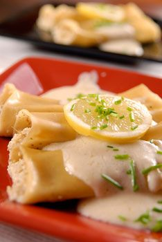 vegan: artichoke and hazelnut cannelloni with lemon soy bechamel sauce recipe...