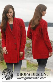 """Knitted DROPS jacket with cables and shawl collar in """"Lima"""". Size: S - XXXL. ~ DROPS Design"""