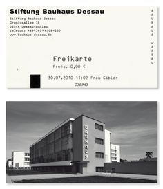 Stiftung Bauhaus Desau - Business Card  Typefaces Used: Dessauer Courier & Arial Black
