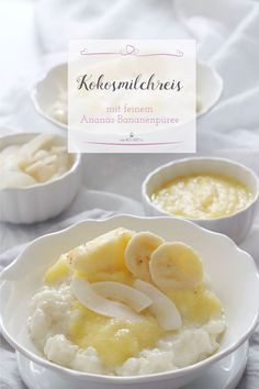 Kokosmilchreis mit Ananas-Bananenpüree Do you need a little taste of the summer? Maybe even on your vacation? How about a delicious coconut milk rice with a pineapple banana puree? Baby Food Recipes, My Recipes, Snack Recipes, Vegan Recipes, Mint Raita Recipe, Coconut Milk Rice, Banana Coconut, Sans Gluten Vegan, Salted Caramel Cake